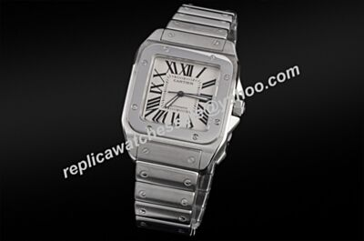 Cartier Ref W20056D6 Rectangle Dial Silver Case Santos Womens Watch KDY025