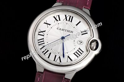Rep Cartier W6920055  Ballon Bleu  Quartz Date Silver Purple Band Watch