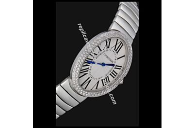 Cartier Baignoire Ref. WB520025 Double Two-rows Diamonds Bezel SS Bracelet Oval Quartz Watch