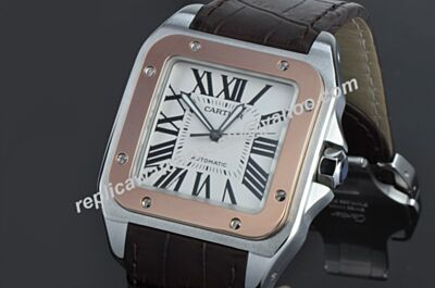 Cartier Santos 100 REF W20107X7 18kt Rose Gold Bezel Swiss Movement Fake Watch KDY033
