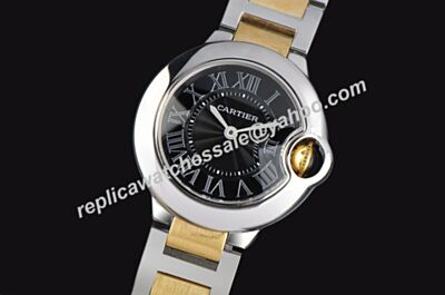 Ballon Bleu de Cartier 2-tone Steel Female Wrists Black Dial Watch
