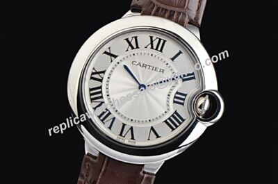 Fake Ballon Bleu de Cartier 42mm Brown Strap No Date Silver Watch
