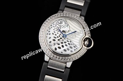 Cartier Ballon Bleu W69012Z4 Diamonds Leopard MOP Special Edition Date Watch