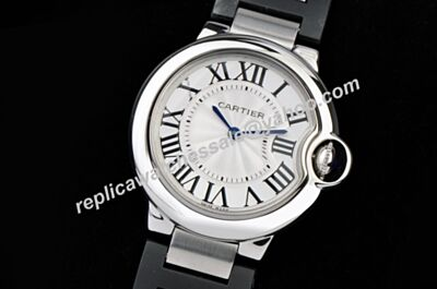 Ballon Bleu de Cartier Black PVD Steel Band White Gold Quartz Watch