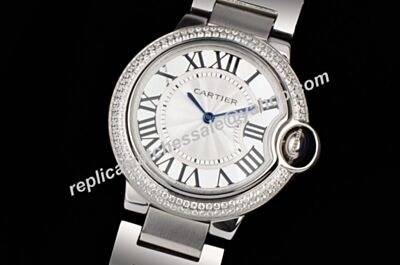 Ballon Bleu de Cartier Diamonds Bezel WE902035 33mm No Date Clone Watch