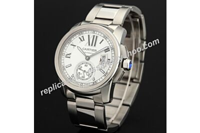 Swiss Fake Calibre de Cartier W7100015 18kt White Gold Bracelet Date Watch KDY070