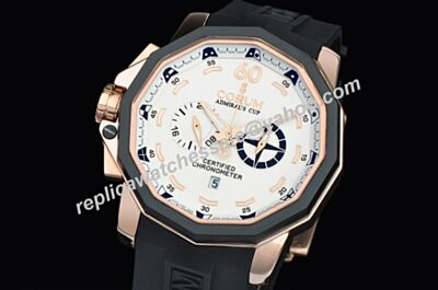 Corum Admiral's Cup Seafender Chronograph 18k Rose Gold Skeleton Hand Watch