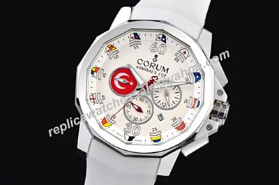 Corum Admiral's Cup Challenger Chrono 44mm Moonphase 24 H White Gold Date Watch