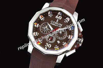 Corum Admiral's Cup Challenger Chrono 753.671.20/F371 AN52 White Gold Bezel Red Hand Date Fake Watch