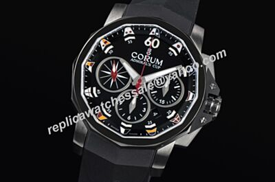 Corum Admiral's Cup Challenger Titanium 986.591.98/F371 AA52 Chronometer Black Swiss  Red Hand Watch KL017