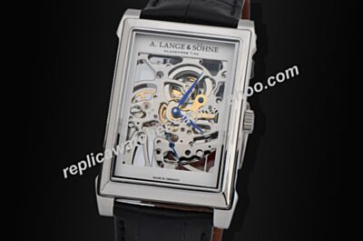 Copy A. Lange & Cabaret Skeleton 39mm Silver Rectangle Case Watch
