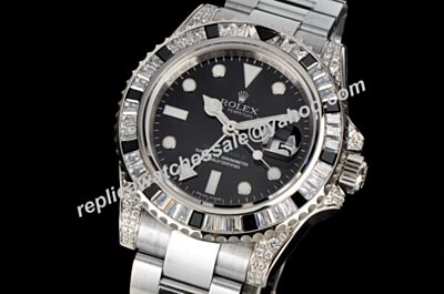 luxury Rolex 116710LN GMT Master II Diamonds Bezel Swiss Black Watch LLS160