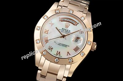 Rolex 36MM Swiss Automatic Pearlmaster Day-Date  Prix Pink mop Face Watch LLS164