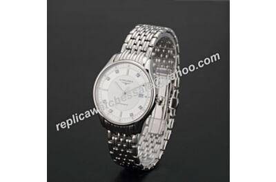 Swiss Replica Men Longines Lyre 35mm Quartz Diamonds All Silver Watch LQ003