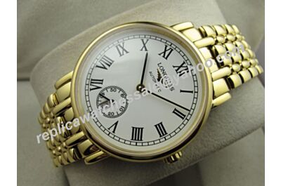 Longines L4.804.2.11.8 Presence 35mm Gold Steel Bracelet Date Men's Auto Movement Watch