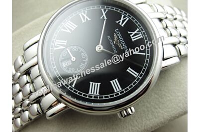 Swiss Movement Longines Presence Automatic Black Dial Gents Silver Fake Watch LQ041