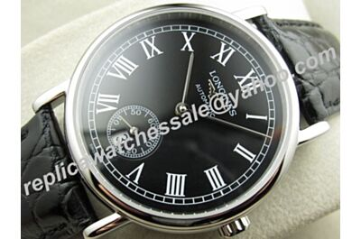 Longines Presence 18k White Gold Black Leather Men's 39mm Watch