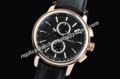Maurice Lacroix Masterpiece Chronometer Small Dials Rose Gold Black Leather Watch