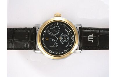 Maurice Lacroix Masterpiece Ref MP7068-SS001-390 43mm Automatic Black Gents Rose Gold Steel Men Watch ML011