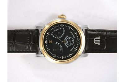Imitation Maurice Lacroix Masterpiece Lune Retrograde Automatic 43mm Black Gold Bezel Watch