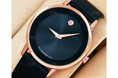 Movado Museum Ref 0607060 18k Rose Gold Quartz Black Dial 40mm boys Watch