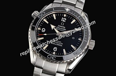 Swiss Omega Seamaster 600m/2000ft 45mm White Gold Date Black SS Watch OMJ087