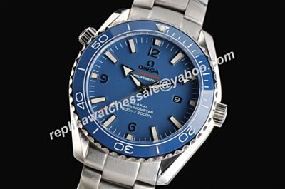 Imitation Omega Seamaster 600m Special Blue Luminous Ref 232.90.42.21.03.001Silver Bracelet  Watch OMJ088