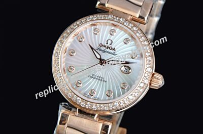 Swiss Omega De ville Ladymatic  Diamond Set Ladies Date Ref 425.65.34.20.55.001 Watch