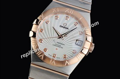 Swiss Omega Constellation Diamond Set Co-axial Women's fake Date Watch