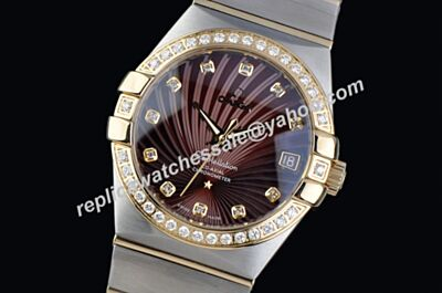 Omega Constellation Diamonds Yellow Gold Date 2-Tone Bracelet Brown Watch