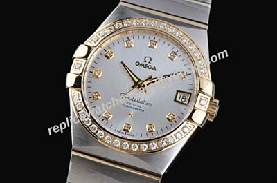 Omega Constellation 123.20.35.20.52.001 Diamonds Rose Gold 35mm Faux 2-Tone Bracelet Watch