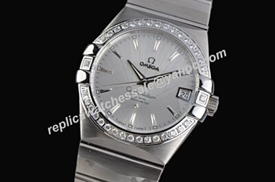 Omega Constellation Diamonds Bezel White Gold Women's Staibless Steel   Bracelet Watch