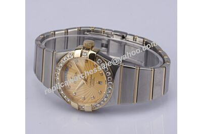 Omega Constellation Diamonds Set Gold Women's 2-Tone  Bracelet Date Watch