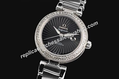 Omega De ville Ladymatic Diamond Bezel 34mm Ladies Black Date Watch
