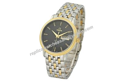 """Omega De Ville Prestige Gold Bezel 36mm Case Black Day Date Watch OMJ236"