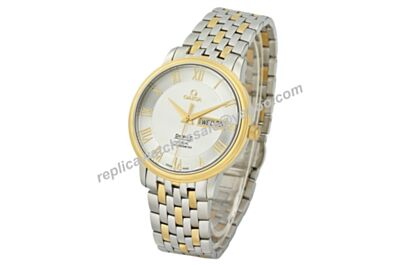 Omega De Ville 424.20.37.20.02.001 Day Date Silver 36mm Faux 2-Tone Band Watch OMJ237