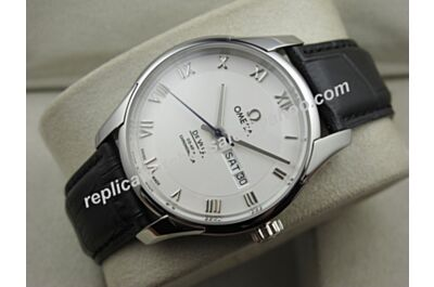 Swiss Made Omega Deville Hour Vision  Ref 433.13.41.21.02.00141mm Day Date Silver Watch OMJ254
