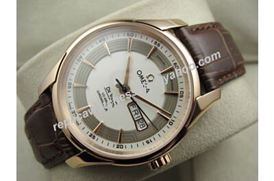 Men's Omega Deville Hour Vision Gold Ref 431.60.41.22.13.001 Brown Leather Day Date Swiss  Watch OMJ266