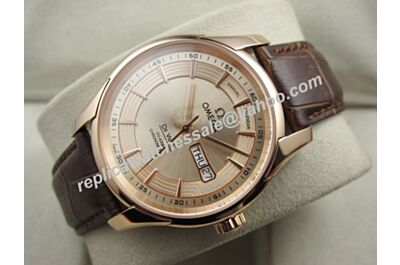 Omega Deville Hour Vision Rose Gold Dial 431.63.41.22.02.001 Swiss fake Day Date Watch OMJ267