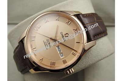 Omega Deville Hour Vision 433.53.41.21.13.001 Gold Roman Markers Day Date Swiss Watch OMJ268
