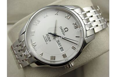 Omega Deville Hour Vision All Silver Swiss 41mm Ref 431.10.41.22.02.001 Day Date Roman Markers Watch OMJ271