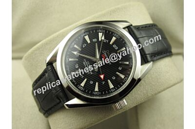 Omega Seamaster 150m Gmt White Gold Swiss 43mm Date Black Leatcher 24 Hours Watch OMJ295