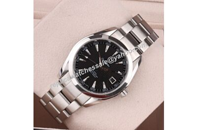 Swiss Rep Omega Seamaster 150m Black Date 41mm Silver SS Watch OMJ302