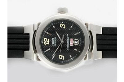 Faux Oris WilliamsF1 Team Day Date Automatic Black Rubber Strap Watch