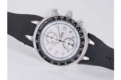 Rep Oris Williams TT3 Chrono 43mm White Gold Case Black Tachymeter Bezel Watch