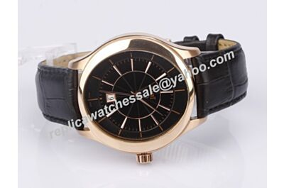 Gents Piaget Black Tie Quartz Date Leather Band Rose Gold Watch Clone