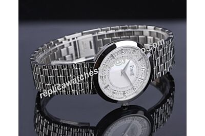 Cheap Piaget Dancer&Traditional Diamonds G0A37047 Lady White Gold 34mm Bracelet Watch