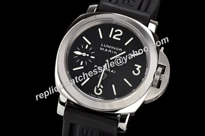 Panerai Luminor Marina Logo Auto White Gold Case Rubber Band Watch