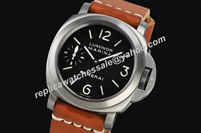 Panerai Luminor Marina PAM 004 Manual PVD Steel 44mm Men Brown Strap Watch Fake