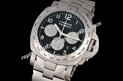 Swiss Panerai Luminor Chronograph Regatta Special Edition Steel Bracelet Watch Fake PNH045